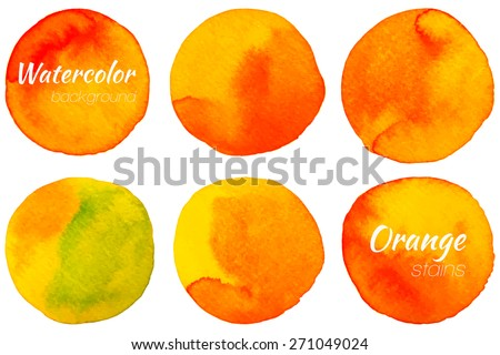 Bright orange watercolor painted vector stains set - stock vector - stock vector