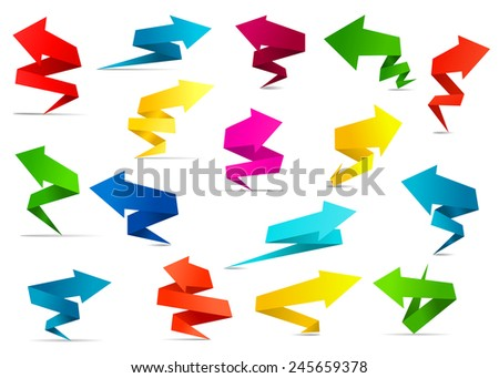 Bright origami twisted arrow banners with copy space in red, yellow, green and blue colors for business presentation and web design - stock vector