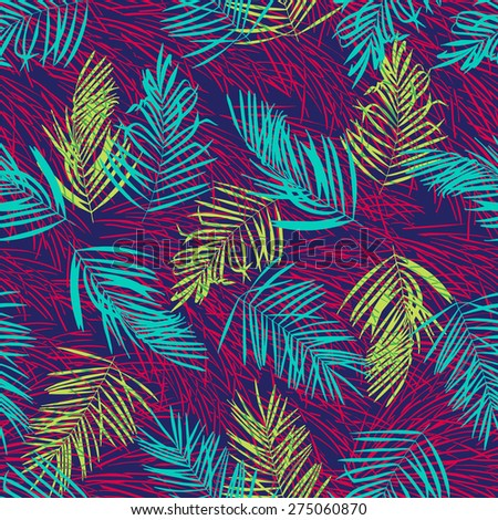 Bright palm leaves on red wind in night. Tropic seamless vector pattern. Simple elegant pattern on dark background. - stock vector