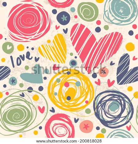 Bright pattern with hearts, circles. The concept of joy and happiness. Seamless background for your design. - stock vector