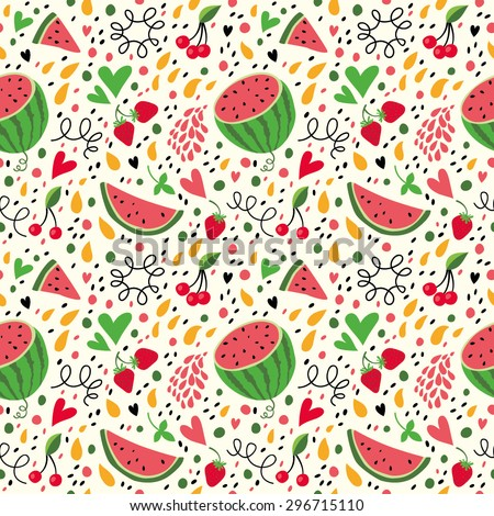 Bright pattern with watermelon, strawberries and hearts. - stock vector