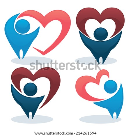 bright people in love,vector collection of hearts and abstract people - stock vector