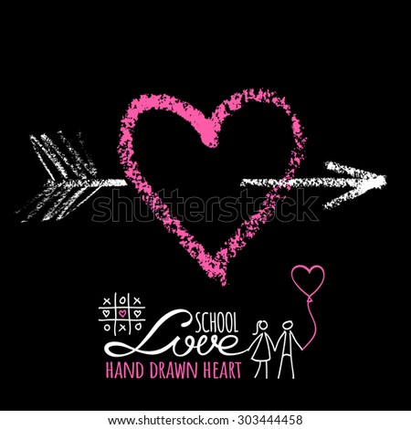 Bright pink chalk heart with white arrow on the blackboard - stock vector