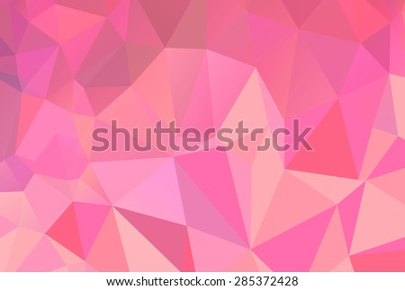 Bright pink flamingo inspired girly triangle vector origami style low poly background - stock vector