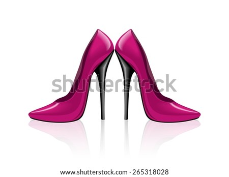 Bright pink shoes, vector illustration