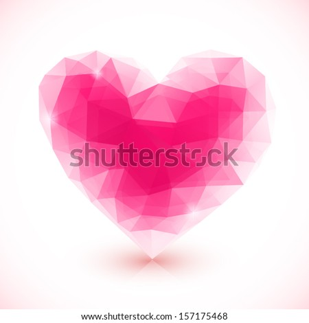 Bright pink vector crystal isolated heart - stock vector