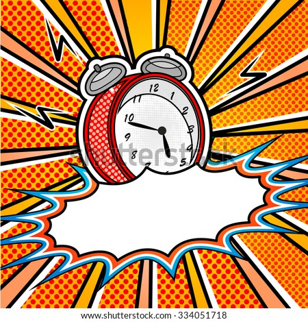 bright pop art explosion over dotted background with cartoon clock - stock vector