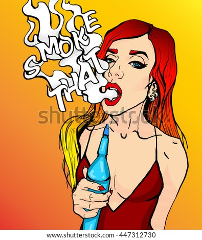 Bright pop-art style attractive sexy cover red head girl with hookah, smoking shisha with smoke, pop art retro hipster fashion advertising Smoke that wow poster, smile, bright hair, art - stock vector