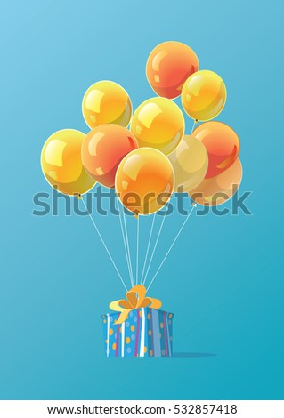 Bright poster with gift and balloons.Flying balloons.Vector Illustration.Surprise template of  magazines, posters, book cover, banners.Christmas gift box.Gift tied to balloons