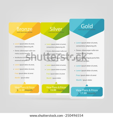 Bright pricing table, banner, order, box, button, list and bullet with plan for website. - stock vector