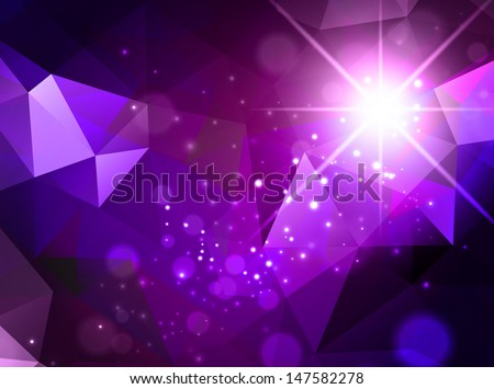 Bright Purple Abstract Background With Star and Lights - stock vector