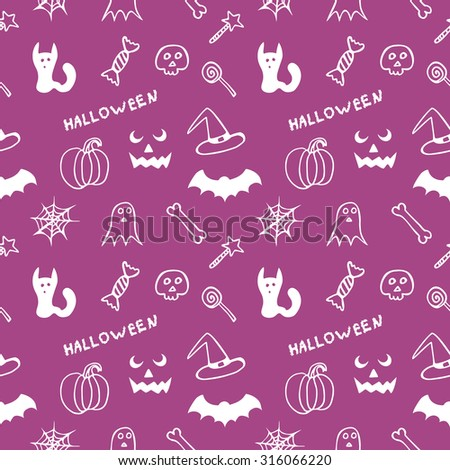 Bright purple seamless texture Halloween - Vector - stock vector