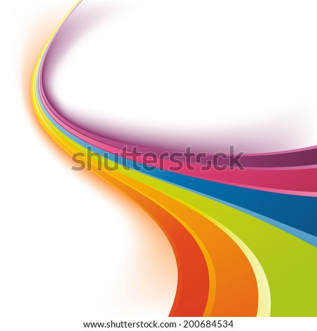 Bright rainbow colorful swoosh waves. Vector illustration - stock vector