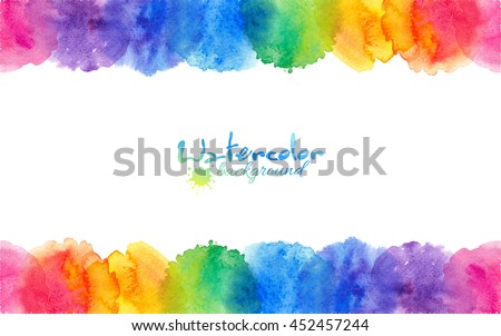 Bright rainbow colors watercolor circles vector frame - stock vector