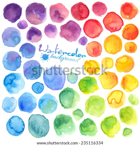 Bright rainbow colors watercolor painted vector stains - stock vector