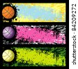 Bright rainbow grunge background with basketball - stock vector