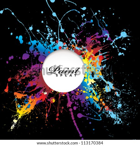 Bright rainbow paint splat with black background and white copy space - stock vector