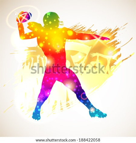 Bright Rainbow Silhouette American Football Player and Fans on grunge background, vector illustration - stock vector