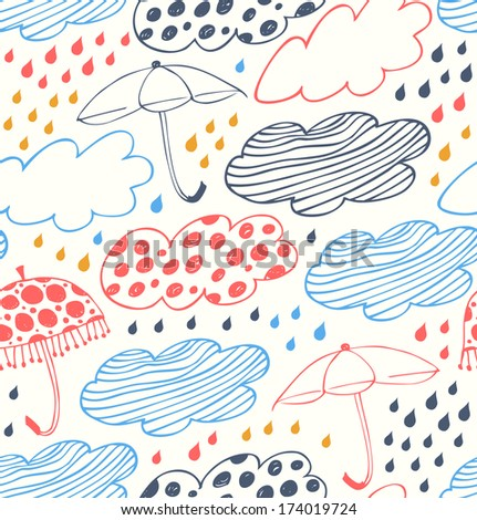 Bright rainy seamless background. Lace pattern with clouds, umbrellas and drops of rain. Cartoon doodle texture with many beauty details - stock vector