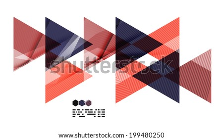 Bright red and blue textured geometric shapes isolated on white - modern design template - stock vector