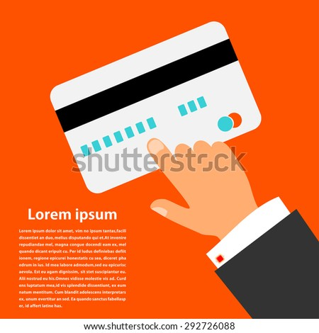 Bright red background with a plastic card banking and the hand of man. Business, businessman. Vector illustration. - stock vector