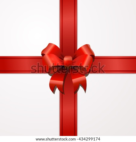 Bright red bow-knot with tape with shadow on white - stock vector