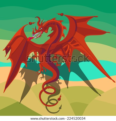 Bright red dragon flying over the fields and the river - stock vector