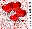 bright red heart balloons background, vector - stock photo