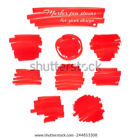 Bright red marker pen spots and lines isolated on a white background for your design. Vector illustration. - stock vector