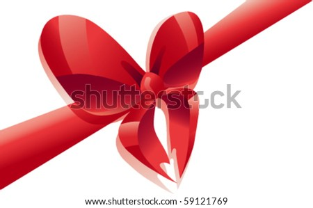 bright red ribbon bow tied in the form of heart - stock vector
