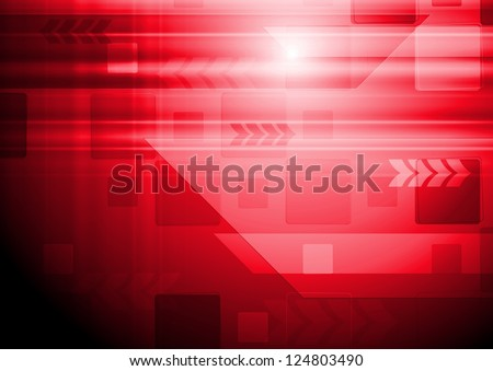 Bright red technology design with arrows. Vector backdrop eps 10 - stock vector