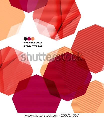 Bright red textured geometric shapes isolated on white - modern design template