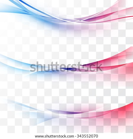 Bright red to blue gradient speed lines abstract minimalistic web header swoosh waves. Vector illustration - stock vector