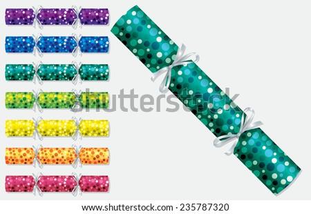 Bright retro Christmas crackers in vector format. - stock vector