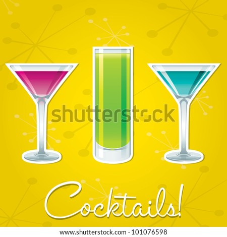 Bright retro cocktail card in vector format.