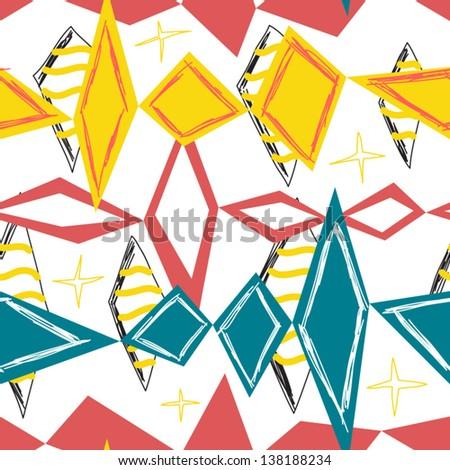 bright rhombus seamless background - stock vector