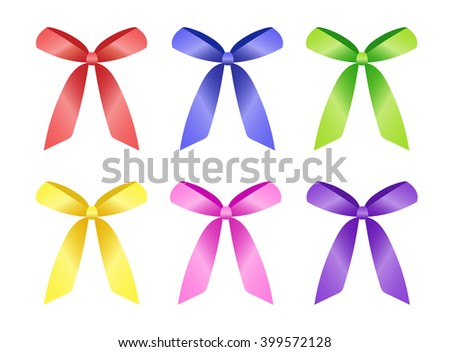 Bright ribbons for decoration and design. Yellow, red, green, blue, pink, violet colors. Vector.