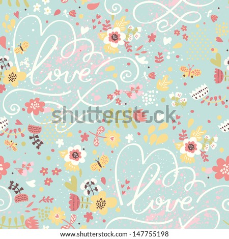 Bright romantic seamless pattern in modern stylish colors. Seamless pattern can be used for wallpaper, web page backgrounds, surface textures. Floral background - ideal for wedding design - stock vector