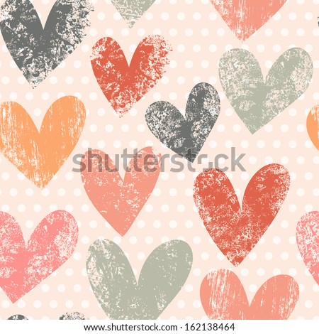 Bright romantic seamless pattern made of colorful hearts in vector. Seamless pattern can be used for wallpapers, pattern fills, web page backgrounds, surface textures. - stock vector