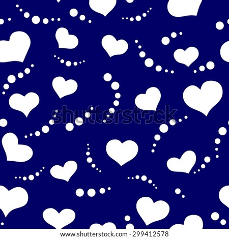 Bright romantic seamless pattern made of white hearts on blue background in vector. Seamless pattern can be used for wallpapers, pattern fills, web page backgrounds, surface textures. - stock vector