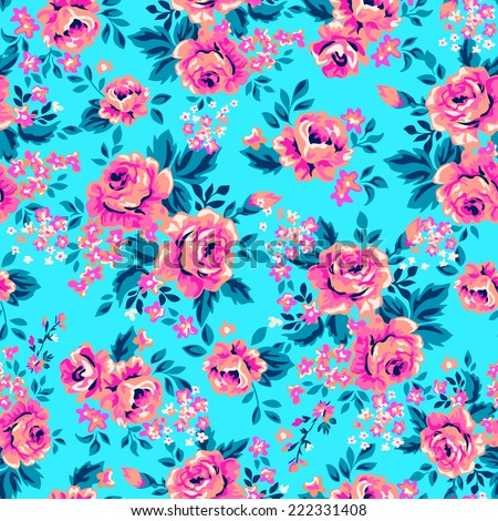 Bright roses on blue ~ seamless background - stock vector