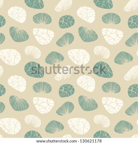 Bright seamless background with decorative stones and shells. Can be used for arts, crafts, textile, wallpapers, web pages, packaging