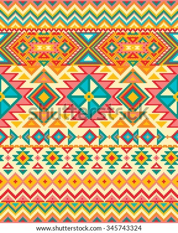 Bright seamless background with pixel pattern in aztec geometric tribal style. Vector illustration. - stock vector