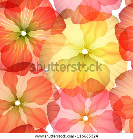 Bright Seamless floral background isolated on white. Vector Illustration - stock vector