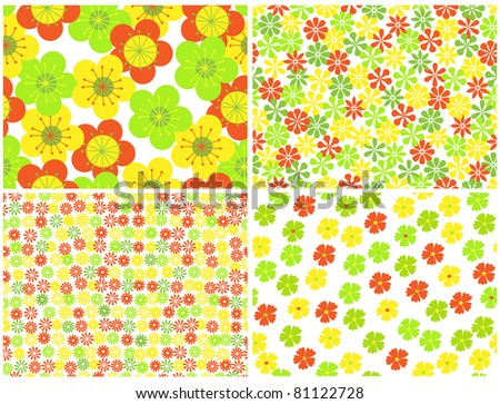 bright seamless  floral backgrounds.vector illustration - stock vector