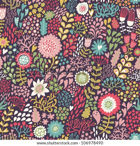 Bright seamless floral pattern in retro style - stock vector