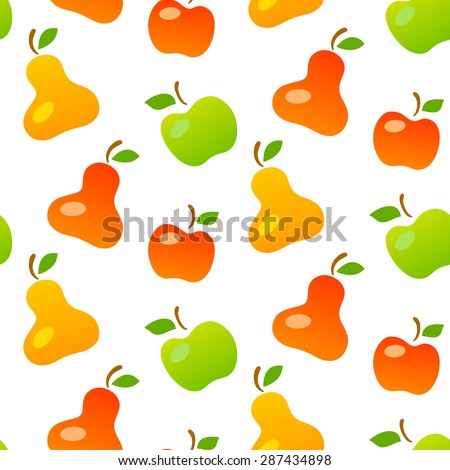 Bright seamless pattern of mellow fruits: pears and apples. Fully editable vector illustration. Perfect for textile, background, wallpaper use.  - stock vector