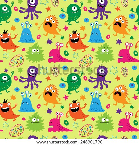 Bright seamless pattern with a aliens - stock vector