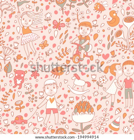 Bright  seamless pattern with children in the garden. Playing kids with toys. Vector background with cartoon boys and girls with flowers. - stock vector