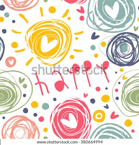 Bright seamless pattern with circles, squiggles, hearts and the word happy. - stock vector